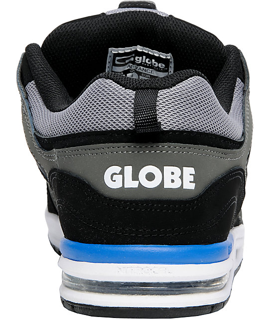 Globe Shoes Advance Black, Charcoal & Blue Skate Shoes