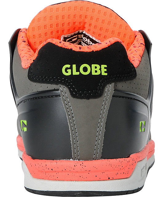 Globe Shoes Barracuda Black, Lime & Fluorescent Red Skate Shoes