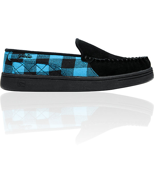 Globe Shoes Castro Black, Blue & Check Slippers