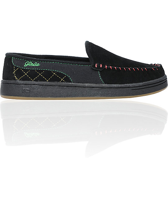 Globe Shoes Castro Black & Rasta Suede Slippers