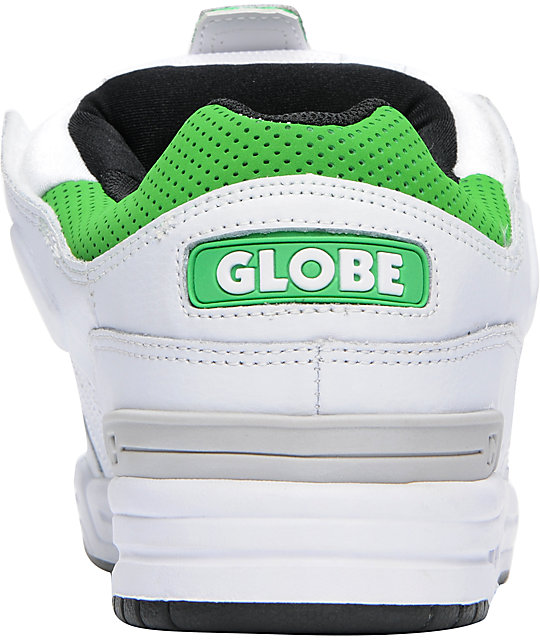 Globe Shoes Fusion White & Moto Green Skate Shoes