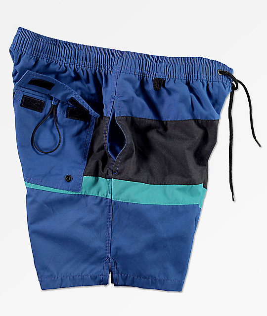 Globe Throwback Blue Elastic Waist Board Shorts