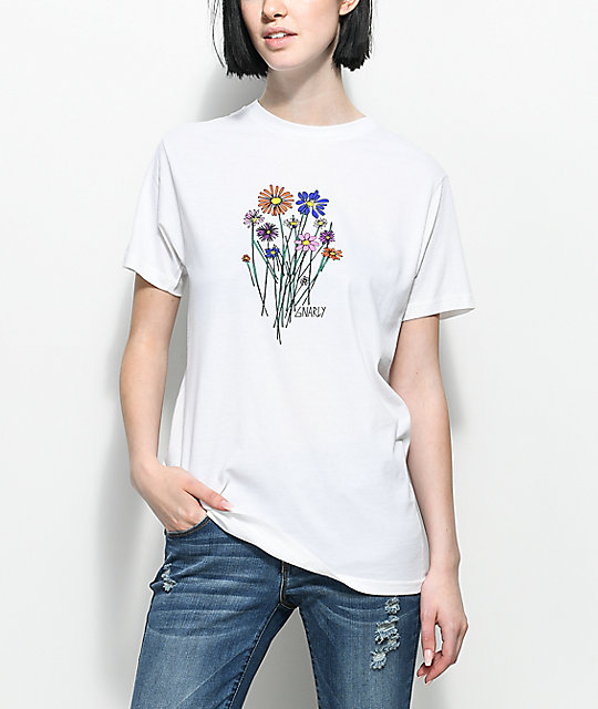 Gnarly Bouquet White T-Shirt