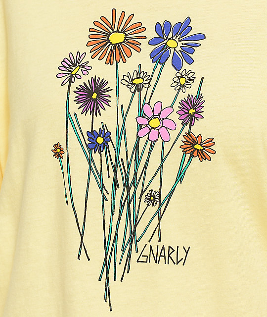 Gnarly Bouquet camiseta de manga larga en color amarillo
