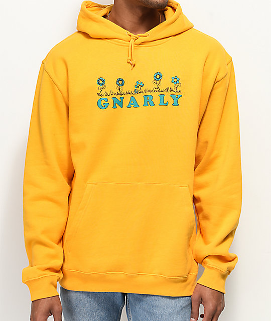 Gnarly Flower Bed sudadera con capucha mostaza