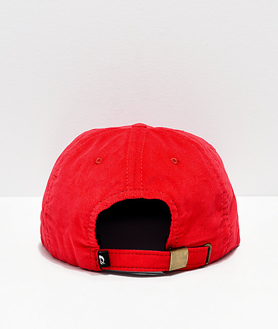 Gnarly Font Red Corduroy Strapback Hat