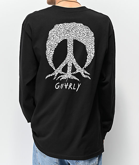 Gnarly Lucas Peace Tree Black Long Sleeve T-Shirt