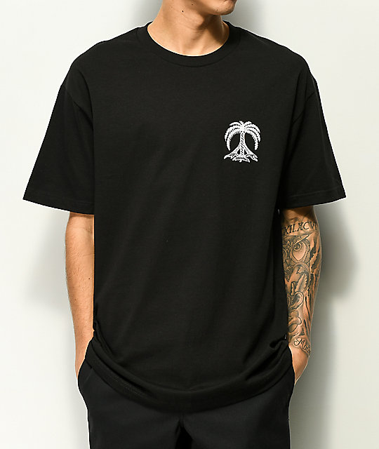 Gnarly Peace Palm camiseta negra