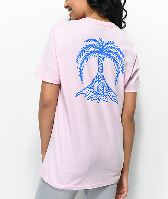 Gnarly Peace Palm camiseta rosa
