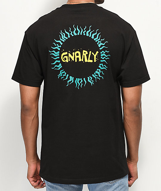 Gnarly Tribal Sun camiseta negra