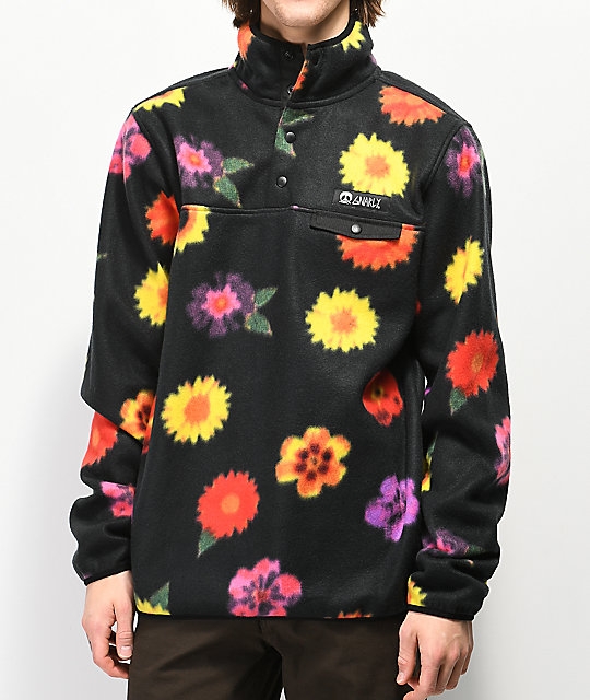 Gnarly Vagabond Trippy Floral Printed Fleece Sweatshirt by Gnarly