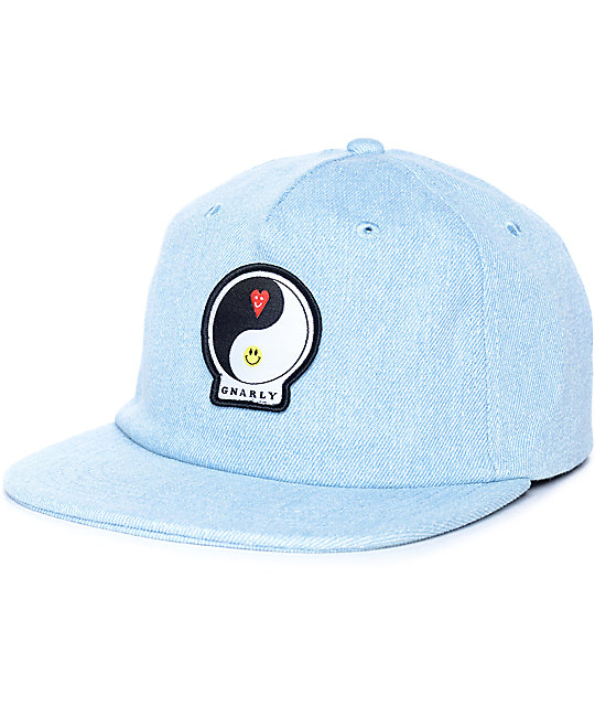 Gnarly Ying Yang Denim Strapback Hat