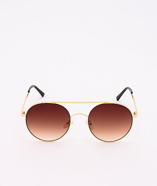 Gold & Brown Round Aviator Sunglasses