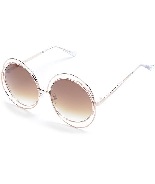 Preferred Gold Double Frame Oversize Round Sunglasses | Zumiez QW76