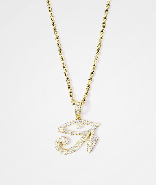 Gold Gods Diamond Eye Of Horus Pendant & 22