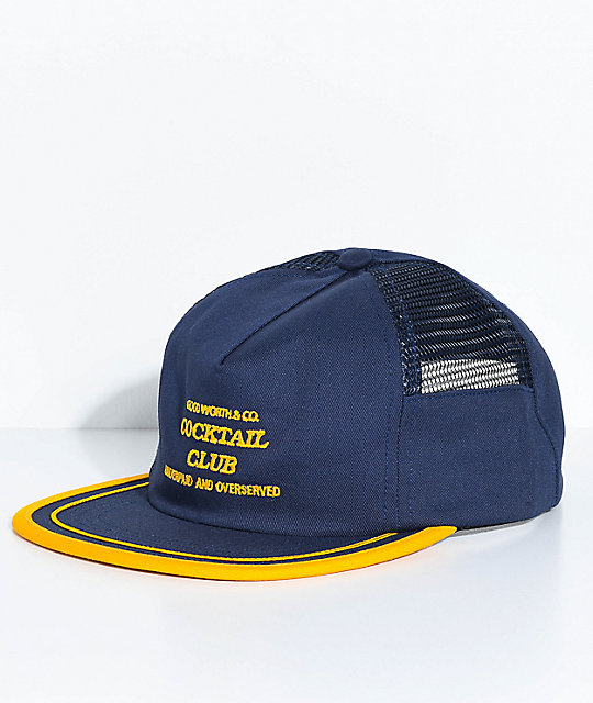 Good Worth & Co. Underpaid Navy & Gold Trucker Hat