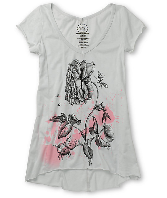 Goodie Two Sleeves Rose Splatter Grey T-Shirt