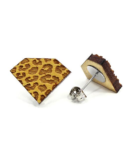 Goodwood Nyc Diamond Cheetah Yellow Wood Stud Earrings