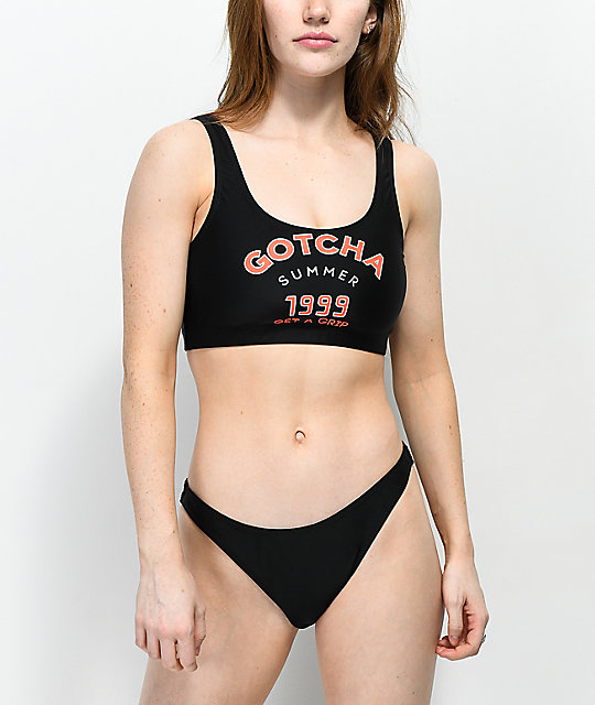 62685b28b054e Gotcha Salty Black High Cut Cheeky Bikini Bottom | Zumiez