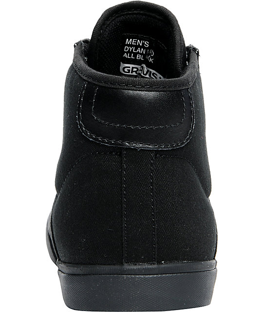 Gravis Dylan Mid Black Canvas Skate Shoes
