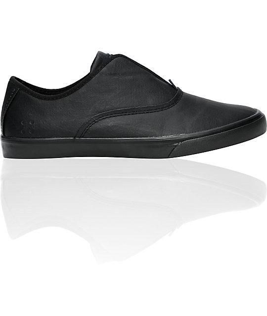 9833a86243d883 Gravis Dylan Slip On Black Wax Canvas Skate Shoes