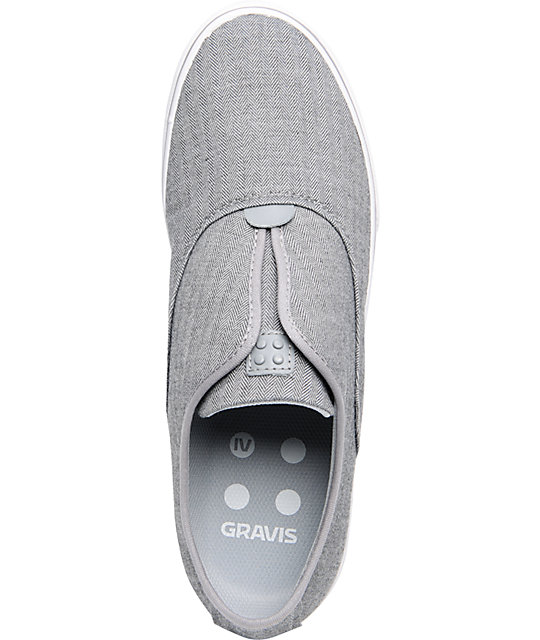 Gravis Dylan Slip On Grey Herringbone Skate Shoes