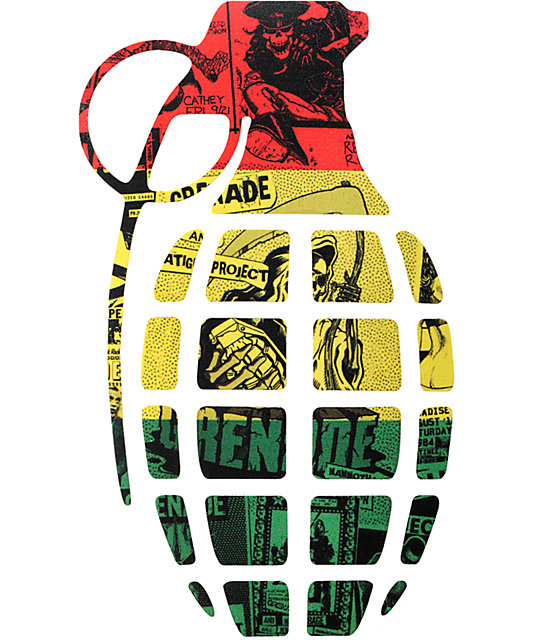 Grenade 8 5 rasta die cut sticker