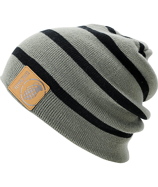 Grenade Astro Belt Stripe Grey & Black Beanie