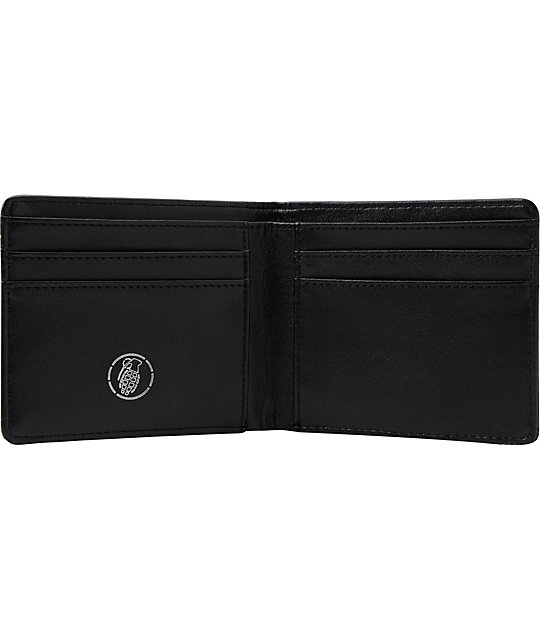 Grenade Deboss Black Leather Wallet