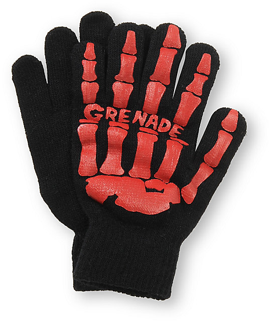 Grenade Skull Black & Red Gloves
