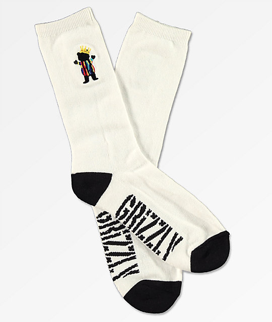 Grizzly Biggie Bear White Crew Socks