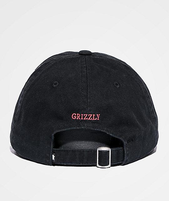 Grizzly OG Bear Logo Black   Red Dad Hat  7886926548bb