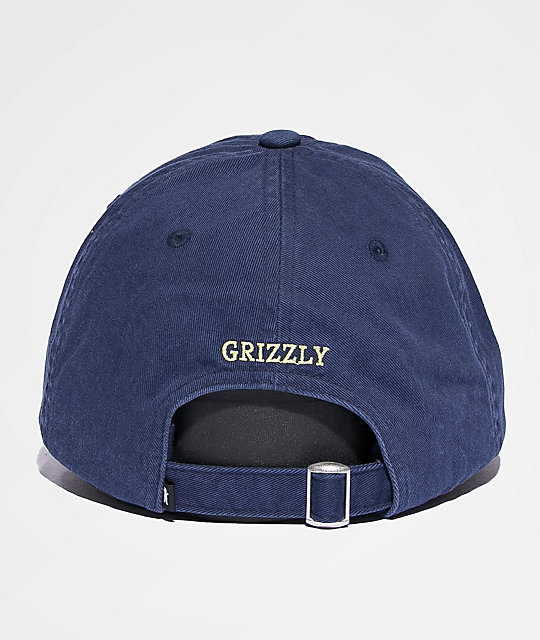e7b895f2 Grizzly OG Bear Logo Navy & Yellow Dad Hat | Zumiez.ca