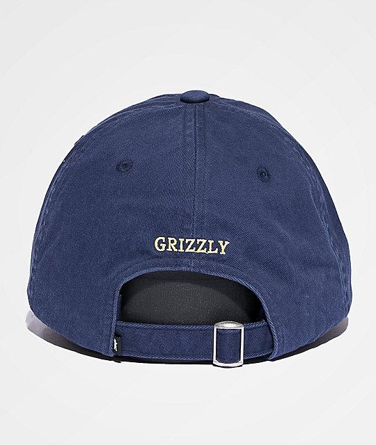 1201639f Grizzly OG Bear Logo Navy & Yellow Dad Hat | Zumiez.ca