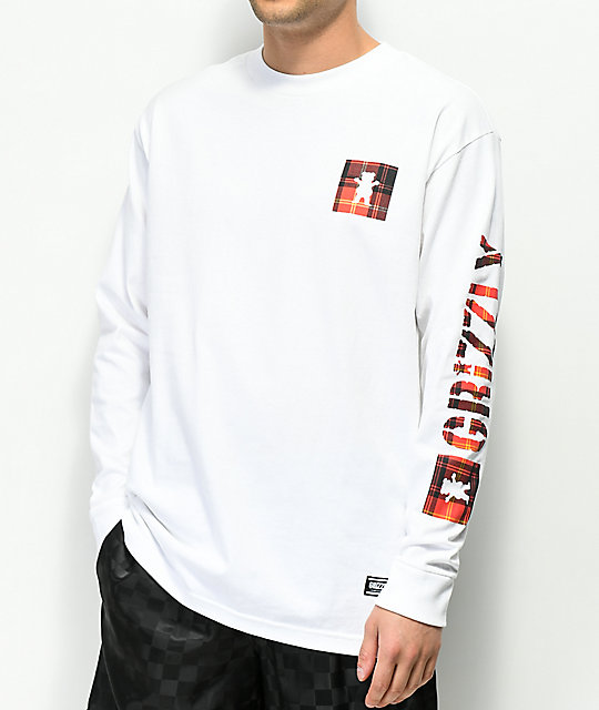 Grizzly Plaid Box White Long Sleeve T-Shirt