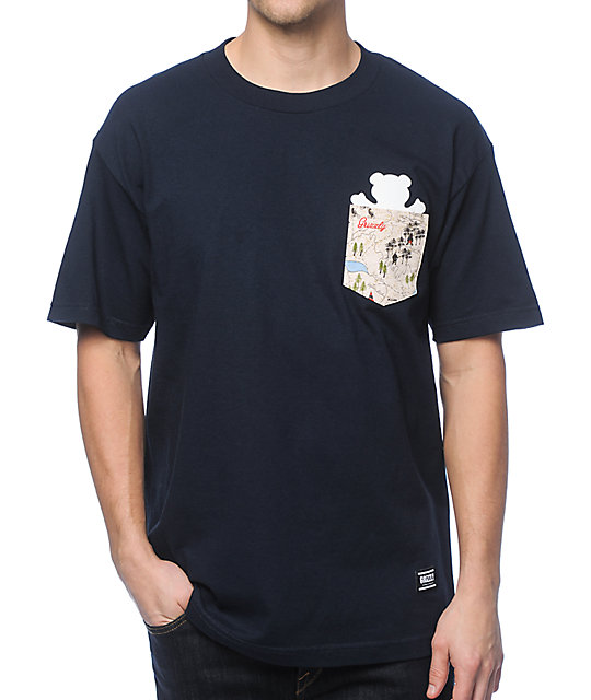 entire collection incredible prices get online Grizzly Trail Map Navy Pocket T-Shirt