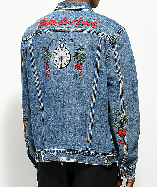 HSTRY Roses Light Blue Denim Jacket   Zumiez