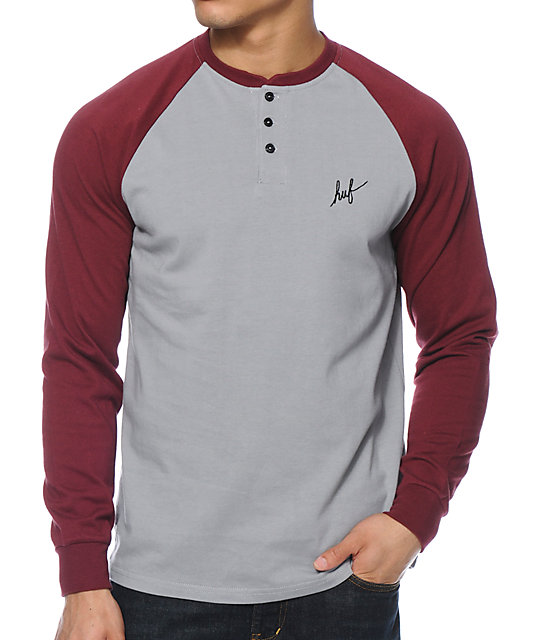 10550bd69 HUF Baker Burgundy & Grey Henley Long Sleeve Shirt | Zumiez