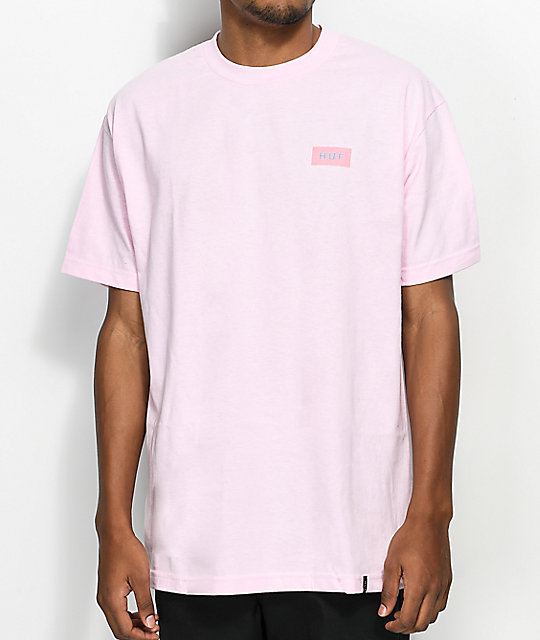 HUF Bar Logo Flock Pink T-Shirt