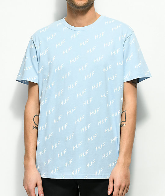 HUF Bolt All Over Light Blue T-Shirt