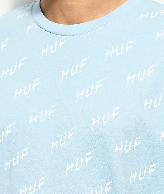 HUF Bolt All Over camiseta en azul claro