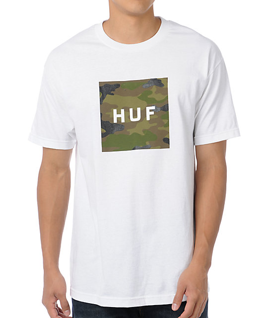 HUF Camo Box Logo White T-Shirt