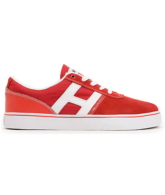 HUF Choice Red & White Suede Skate Shoes