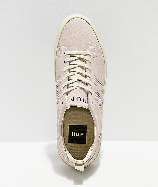 HUF Clive Bone White Suede Skate Shoes