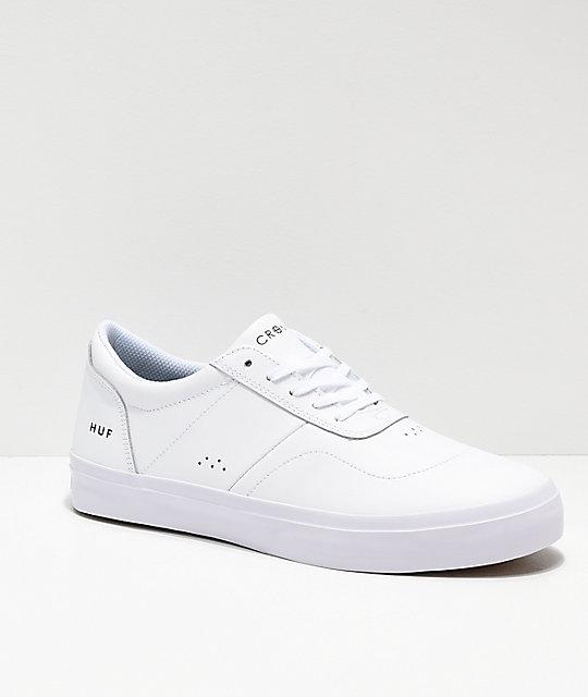 9c19ed0c53dc HUF Cromer 2 All White Leather Skate Shoes