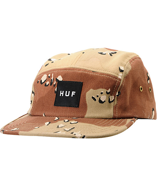 HUF Desert Camo Box Logo 5 Panel Hat