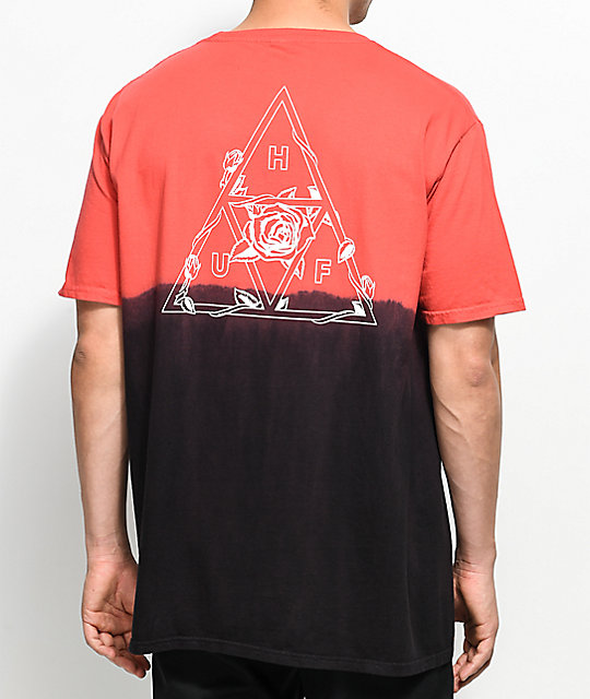 HUF Dip Dyed Black & Red T-Shirt ...