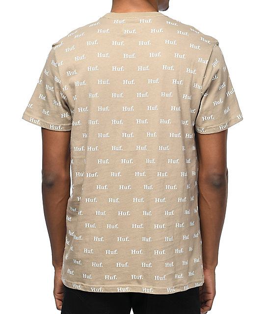 HUF Domestic All Over Print camiseta en color caqui