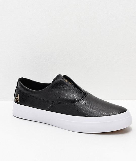 e9141bd907cea0 HUF Dylan Slip-On Black   White Debossed Leather Skate Shoes