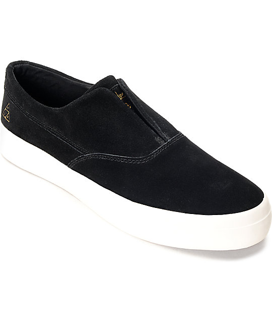 6c7336a8e3 HUF Dylan Slip On Black   White Suede Skate Shoes
